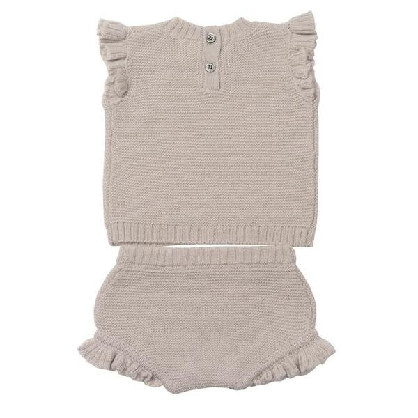 Kids Bonton Two Piece Short Sleeved Shirt And Bloomers Set - Mastic Grey