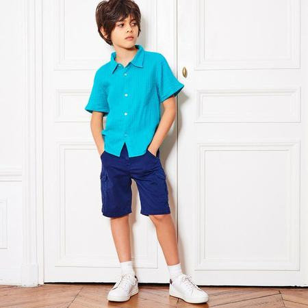 Kids Bonton Ice Short Sleeved Shirt - Teal Green
