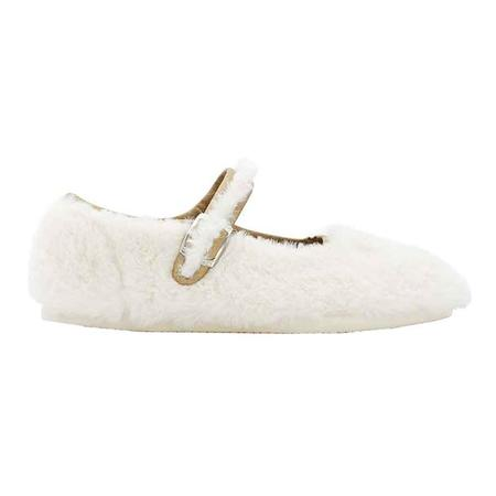 Kids Bonton Mia Mary Jane Shoes With Rabbit Face - Cream Fur