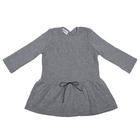 Kids Pequeno Tocon Long Sleeved Ribbed Dress - Grey