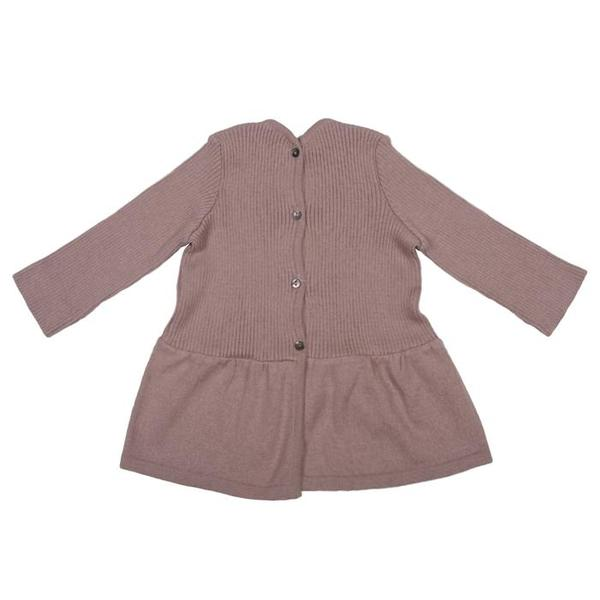 Pequeno Tocon Baby Long Sleeved Ribbed Dress Pink
