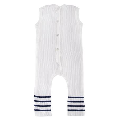 Kids Pequeno Tocon Sleeveless Jumpsuit - Natural Cream/Navy Blue Stripes