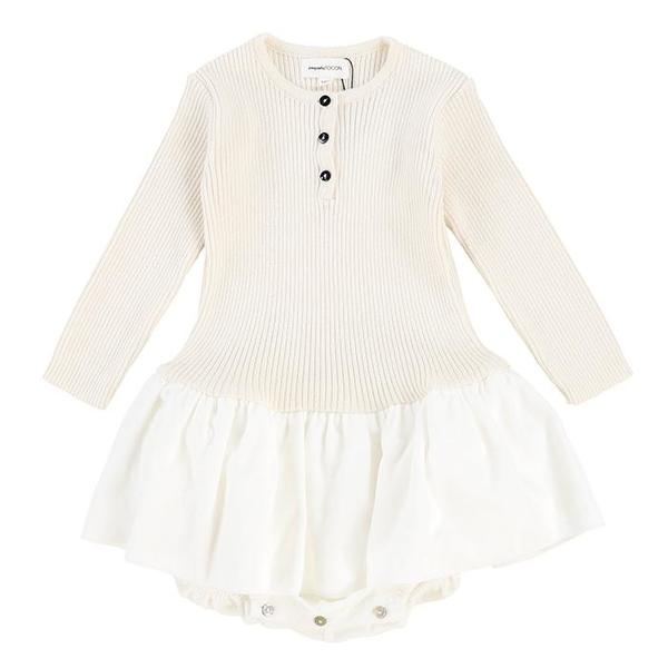 Pequeno Tocon Baby Velvet Tutu Dress With Ribed Knit Top Natural Cream