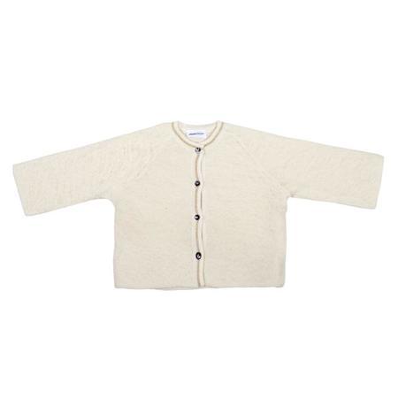 Kids Pequeno Tocon Wool Cardigan Sweater - White/Gold