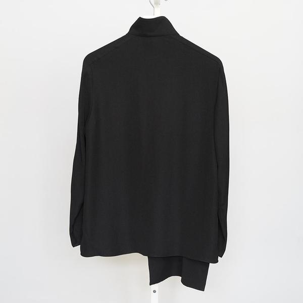 Tibi Drape Cross Tie Zipup Top - Black