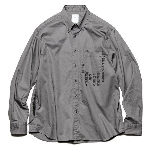 Uniform Experiment Garbardine Back Concealed Pocket Big Button Down Shirt - Grey