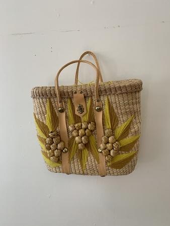 Vintage Yellow Mexico Wicker Bag