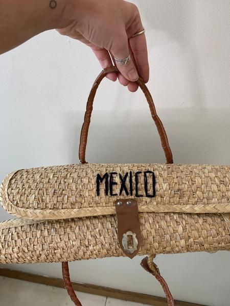 Vintage Blue Floral Mexico Wicker Bag
