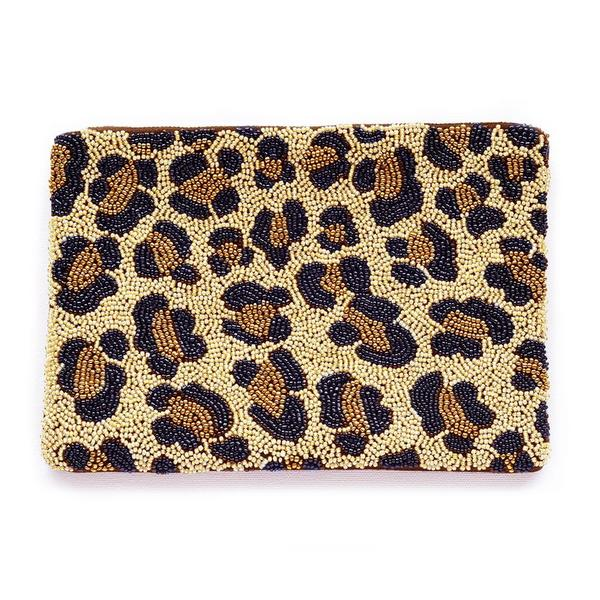Pattino Shoe Boutique Ink and Alloy Beaded Clutch - Cheetah