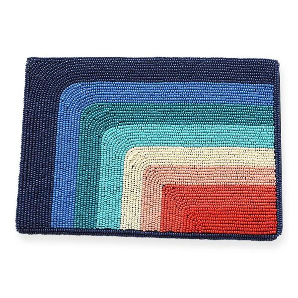 Pattino Shoe Boutique Ink and Alloy Beaded Clutch - Rainbow