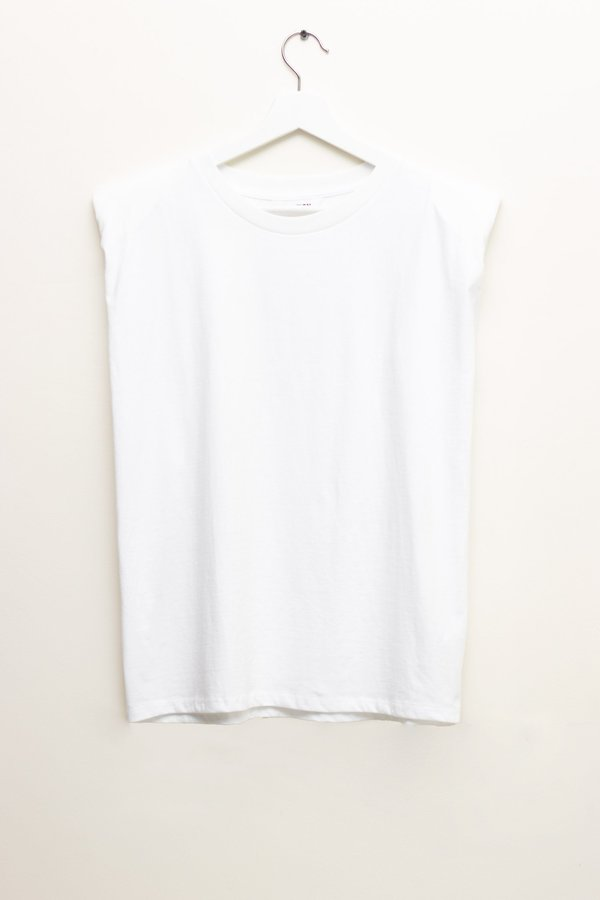 W A N T S Sleeveless Padded Shoulder T-shirt - White