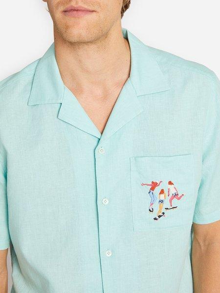 O.n.s X Leah Goren Oki Camp Collar Shirt - Eggshell Blue