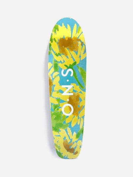 O.N.S X LEAH GOREN SUNFLOWER SKATEBOARD DECK - BLUE/YELLOW
