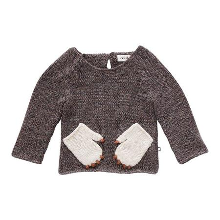 Kids Oeuf NYC Sweater With Monster Pockets - Brown