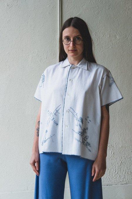 BODE MOUNTAIN TABLEAU EMBROIDERY SHIRT - BLUE