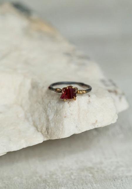Variance Objects Garnet Silver 14KT-18KT Gold Ring