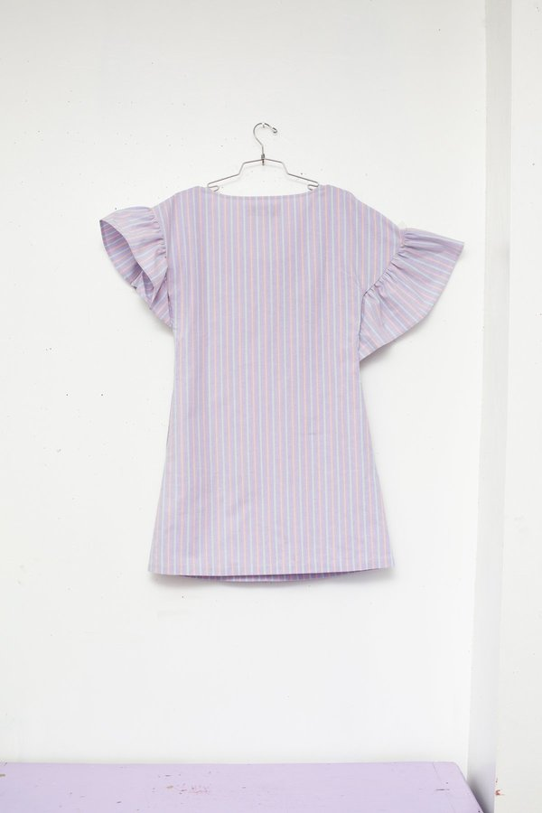 Kurt Lyle EDITE DRESS - Lilac Stripe