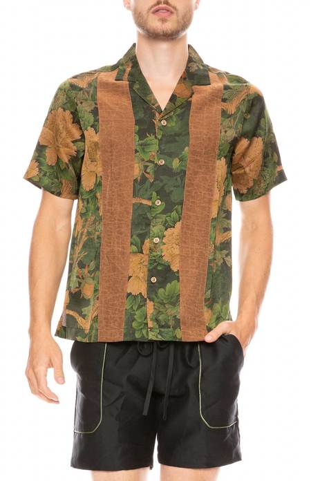 ZIRAN Camp Collar Shirt - JUNGLE/STRIPE