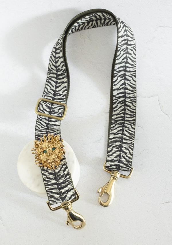 Gabriele Frantzen Lion on Zebra Belt and Strap - Gold