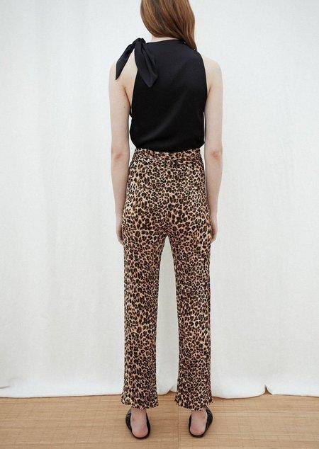 Nanushka Luma straight leg pants with tie belt - Ocelot
