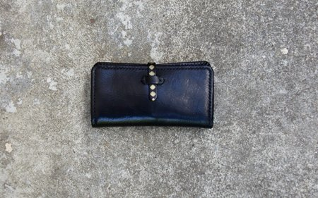 Eatable of Many Orders Print Long Wallet - Black/Gold