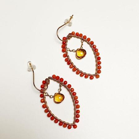 Tilla Earth Hoop Pierce Earrings - Dyed Coral