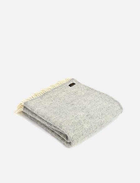 Tweedmill Fishbone Throw - Silver Grey