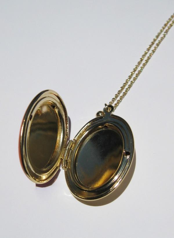 Trois Petits Points Large Enameled Locket Necklace