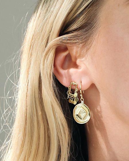 Behind The Seams The Punk Stud Hook Earrings - Gold