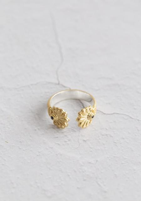 Temple Of The Sun Vermeil/Black Sapphire Ring - 18KT Gold