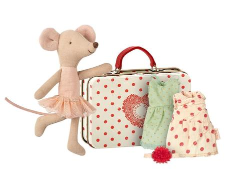 Kids Maileg Ballerina Mouse with 2 Dresses and Suitcase