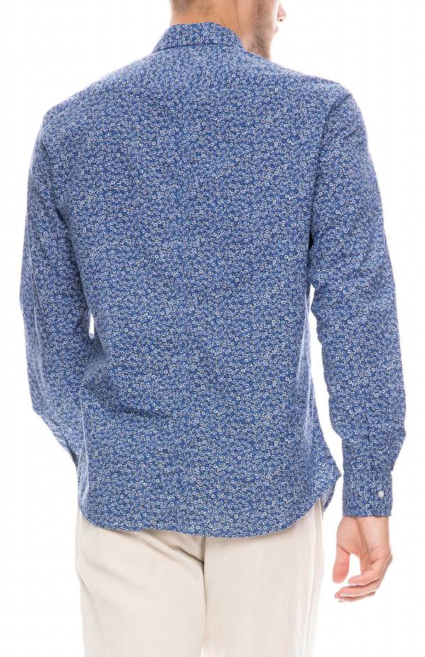 Frank & Eileen Don Floral Print Chambray Shirt - COBALT BLUE