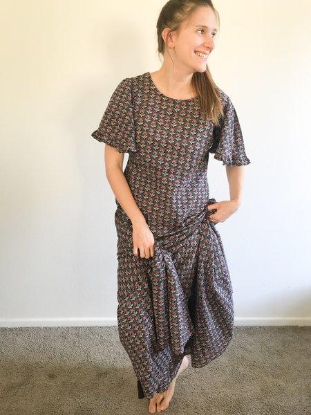 Voloshin Harriet Ruffle Sleeve Dress - Onyx Combo