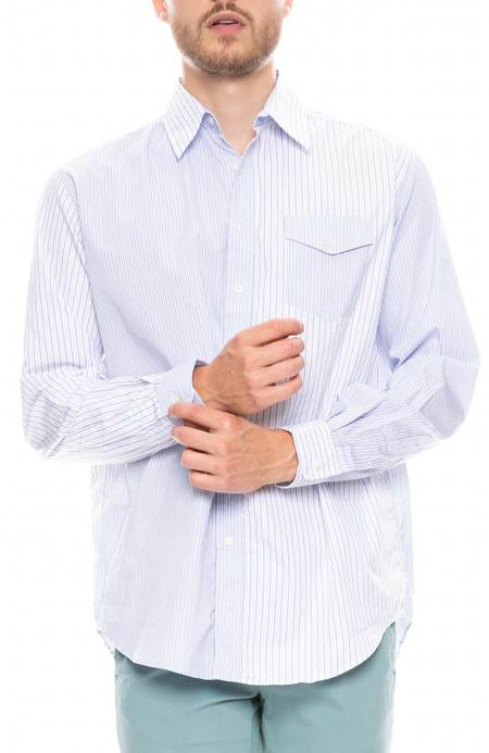 Schnayderman's Oversized Patchwork Striped Shirt - BLUE/WHITE