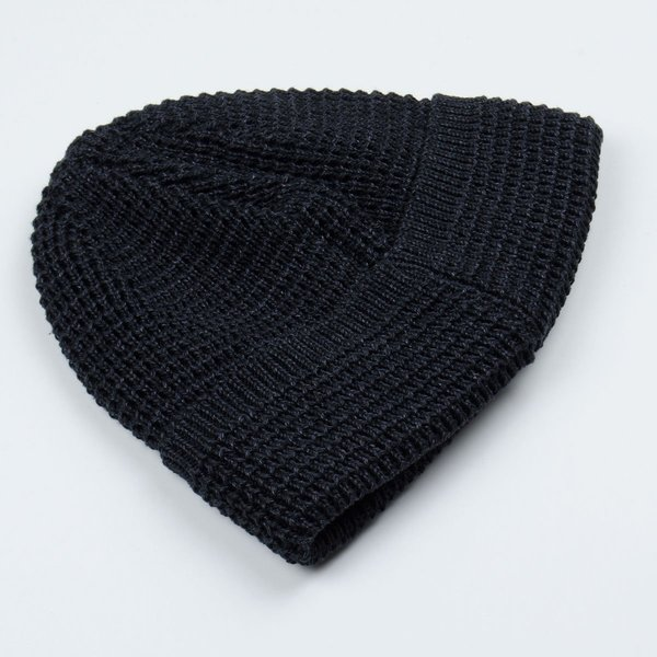 cableami Denim-like Cotton Beanie - Black