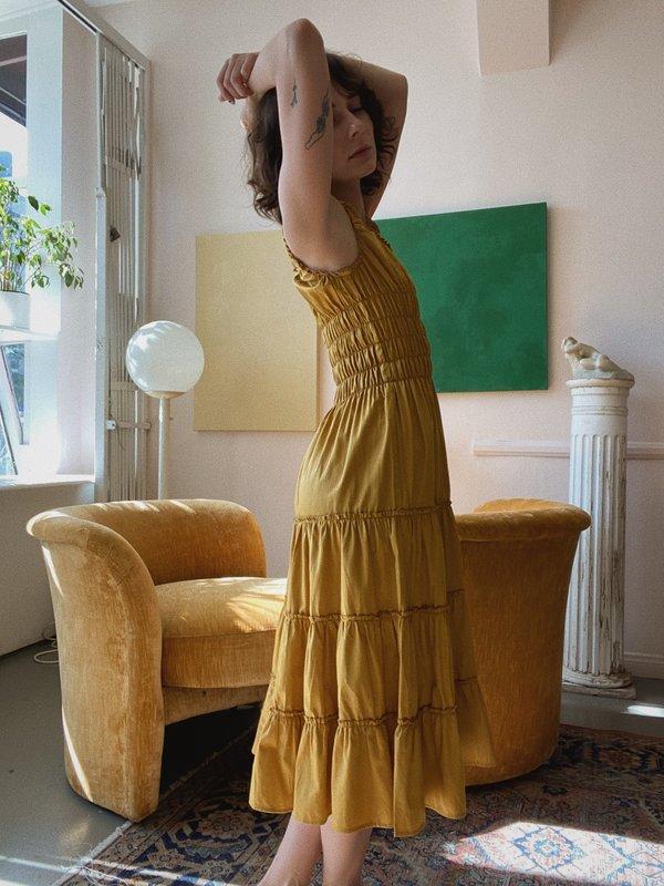 Lisa Says Gah Cotton Satin Agatha Midi Dress - Gold