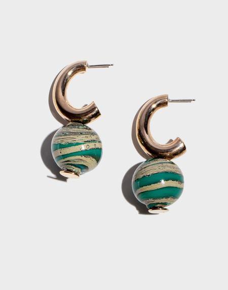 Modern Weaving C-Curve Hoop Earrings - Petrol Swirl Blown Glass