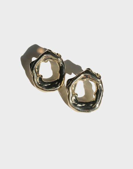 Modern Weaving Irregular Loop Stud Earrings - Brass