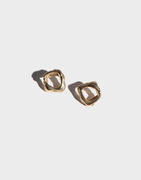 Modern Weaving Layered Stud Earrings - Brass