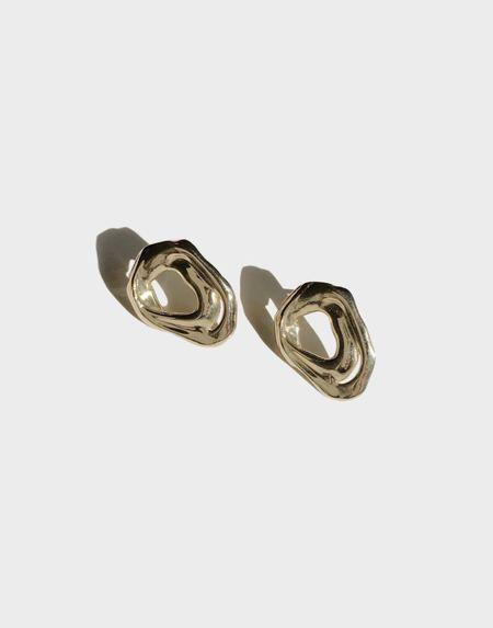 Modern Weaving Soft Form Studs - Brass