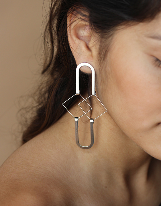 Alynne Lavigne Squared Earrings - Silver