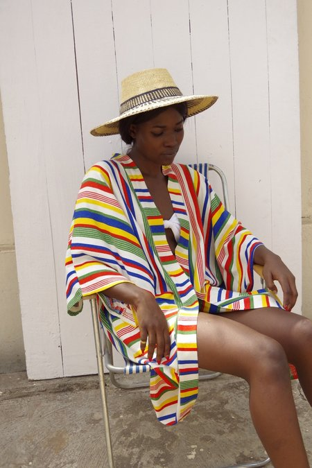 Studio One Eighty Nine Striped Silk Dream Midi Kimono - Technicolor Rainbow