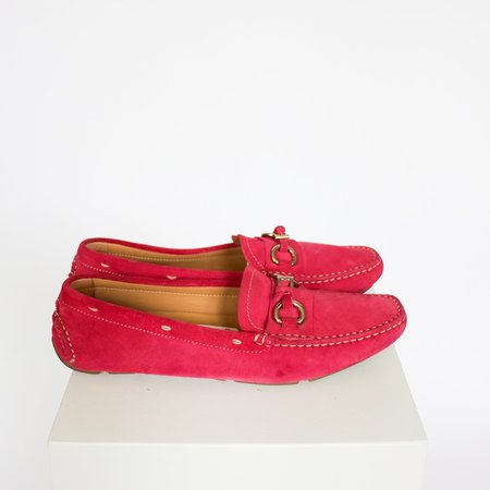 [Pre-Loved] Prada Suede Loafers - Bright Pink