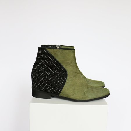 [Pre-loved] Schutz Studded Ankle Boot - Olive