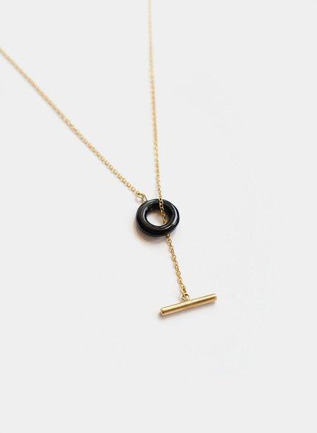 Soko Kumi Lariat Necklace - Brass/Black