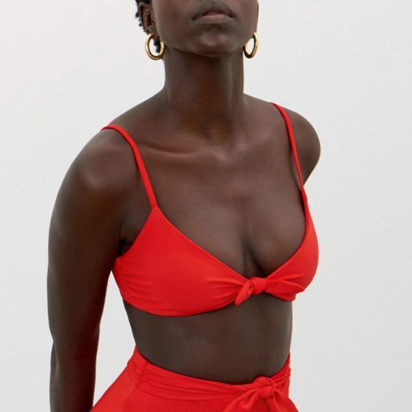 Mara Hoffman Carla Knot Front Bikini Top - Red Coat