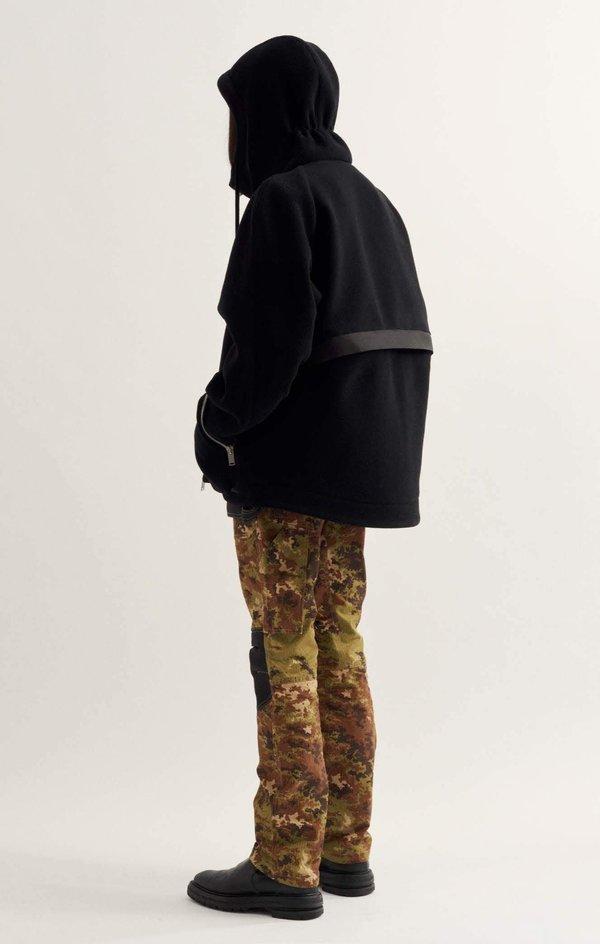 Adyar Virgin Wool Melton Shell Parka - black