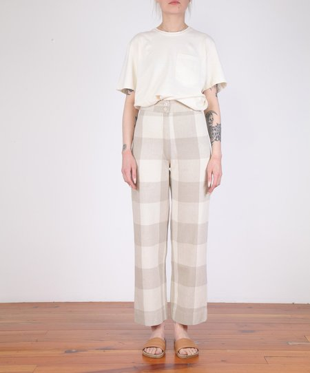 Ali Golden-Silk Fly Front Pant - Natural Gingham