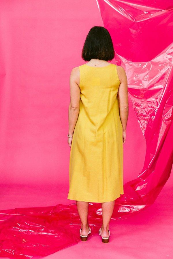 KAAREM papen sleeveless wrap layered midi dress - lemon