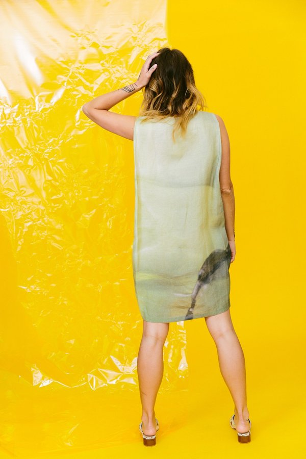 KAAREM pupal sleeveless print dress - seaweed jelly print